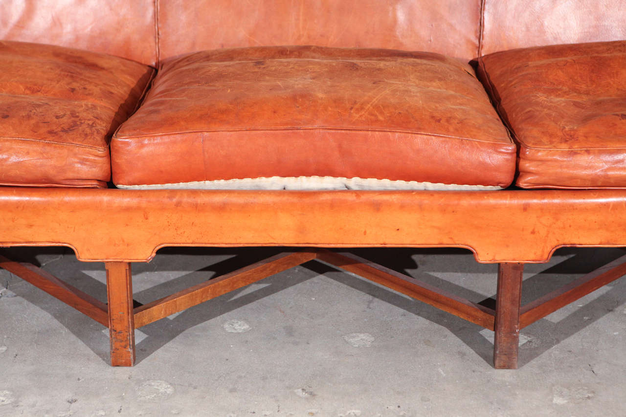 Danish Kaare Klint Three-Seat Leather Sofa For Sale