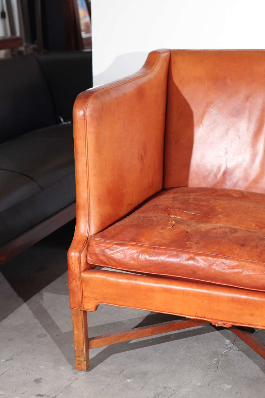 Kaare Klint Three-Seat Leather Sofa In Good Condition For Sale In Los Angeles, CA