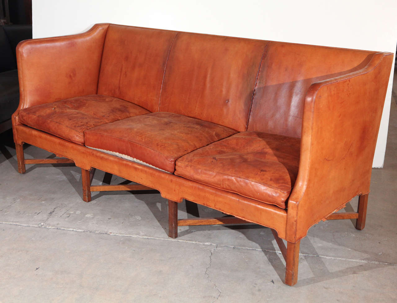 Kaare Klint Three-Seat Leather Sofa For Sale 3