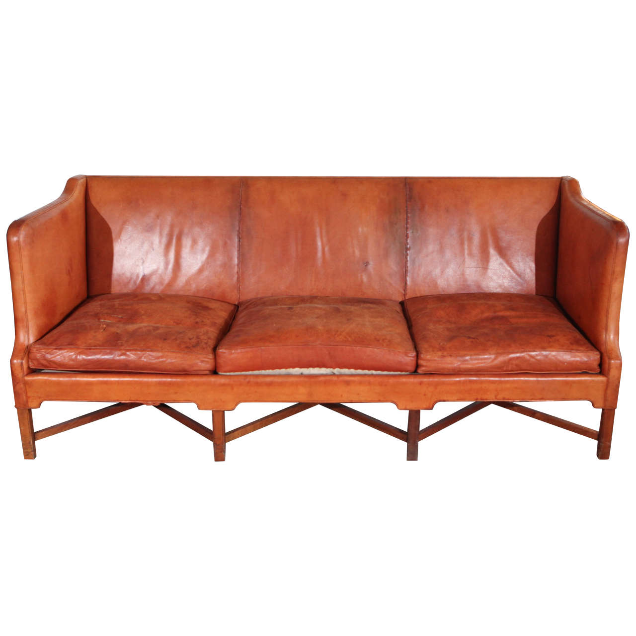 Kaare Klint Three-Seat Leather Sofa For Sale