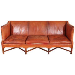 Kaare Klint Three-Seat Leather Sofa