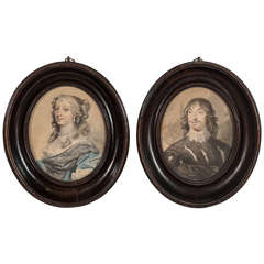 Pair of 18th Century Portraits of English Aristocrats in Pearwood Frames
