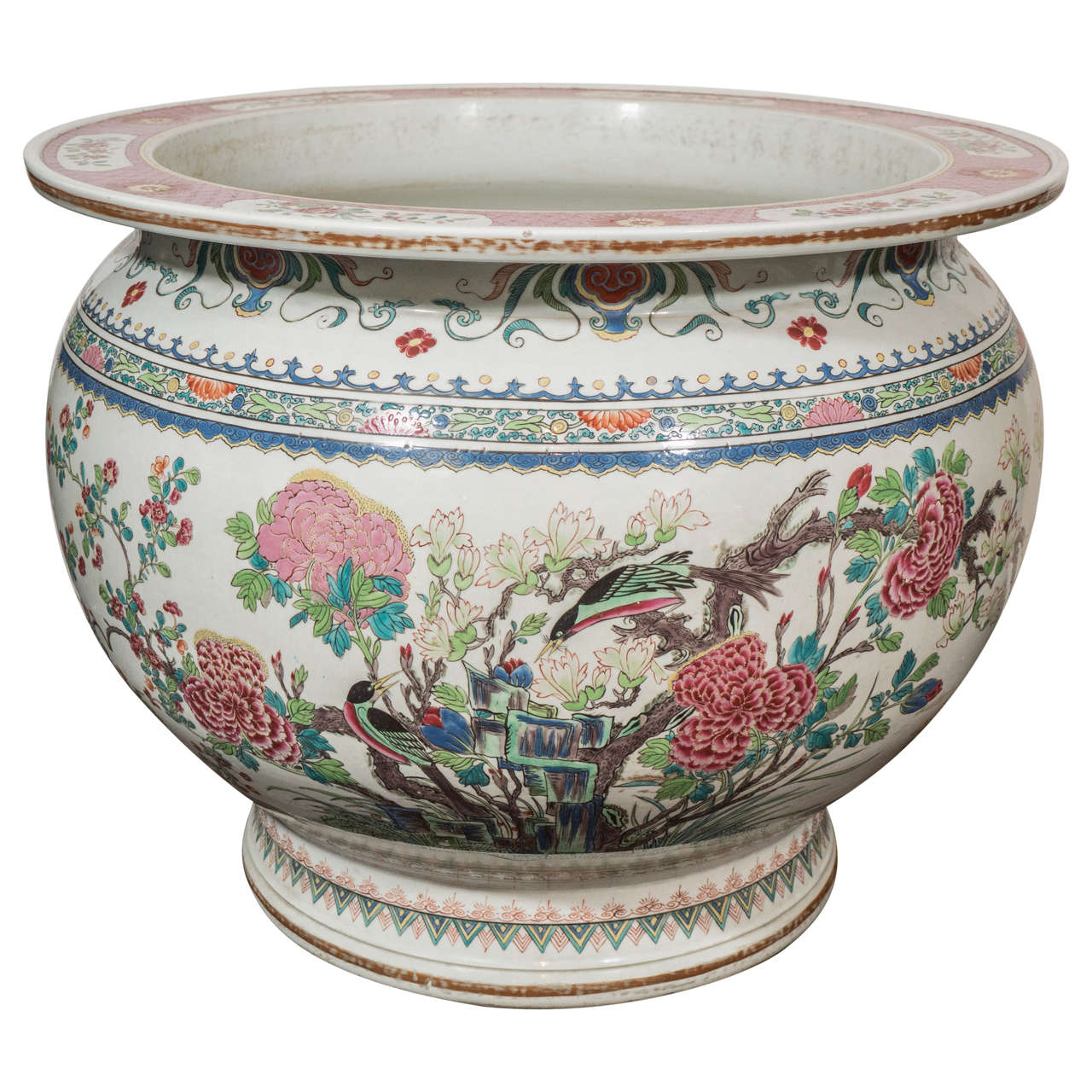 Antique chinese porcelain fish bowl at 1stdibs for Large fish bowl