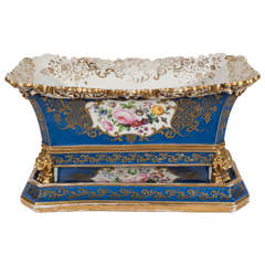 Antique French Porcelain Jacob Petit Jardiniere and Stand