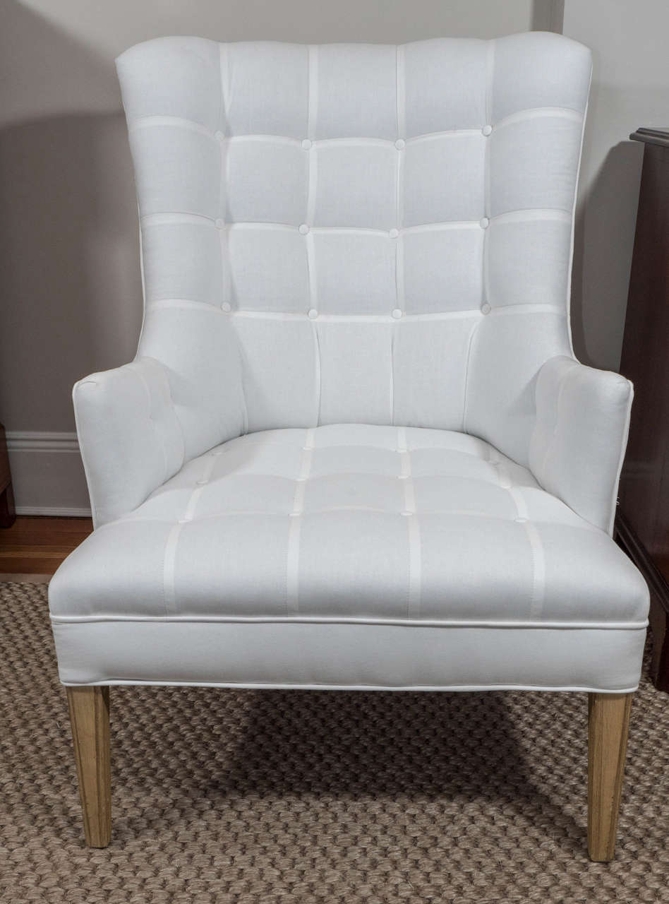 Pair Of Upholstered His And Her Chairs At 1stdibs
