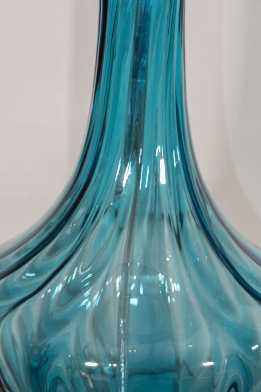 20th Century Blue Murano Glass Lamp For Sale
