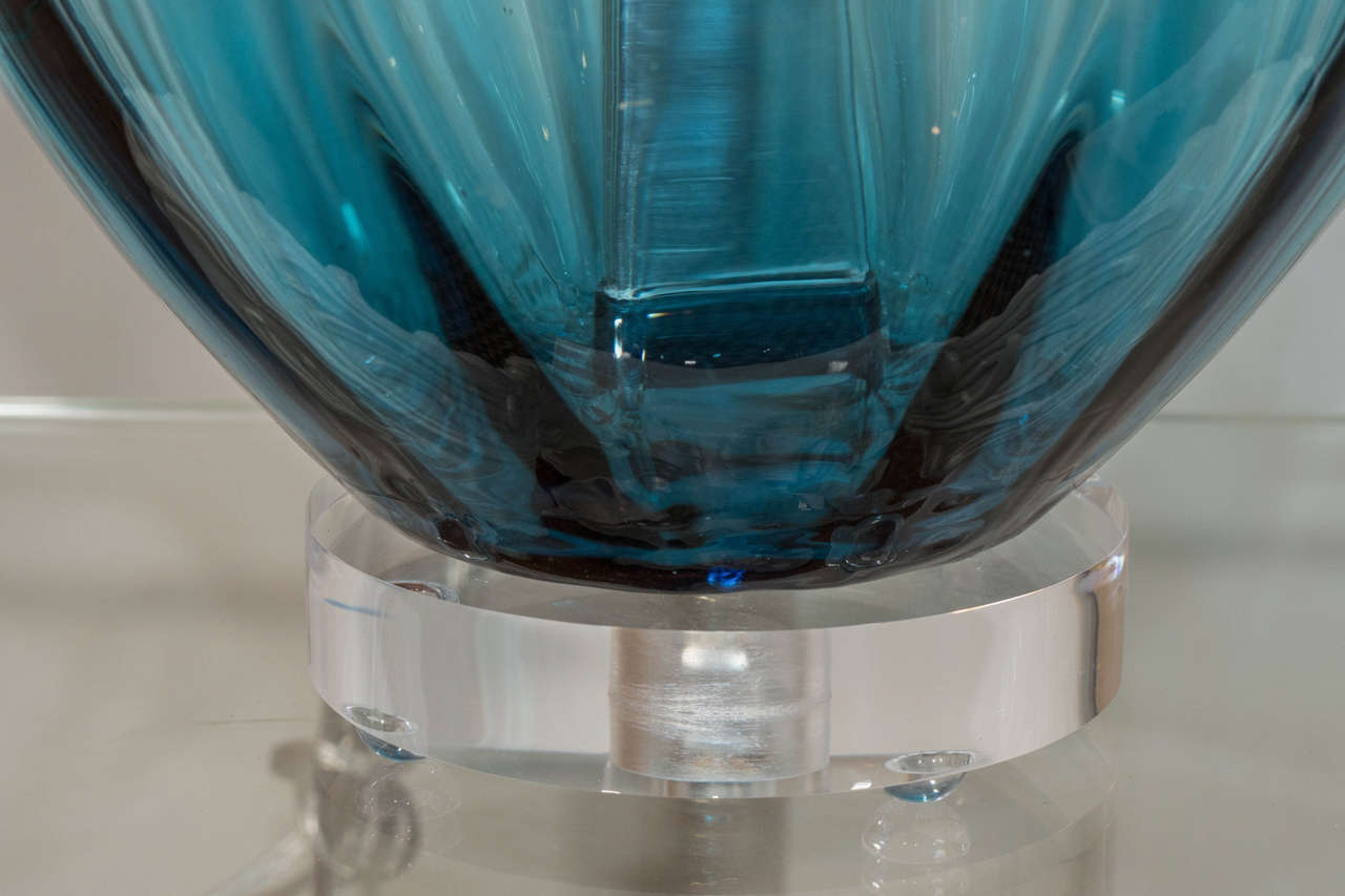 Blue Murano Glass Lamp For Sale 1