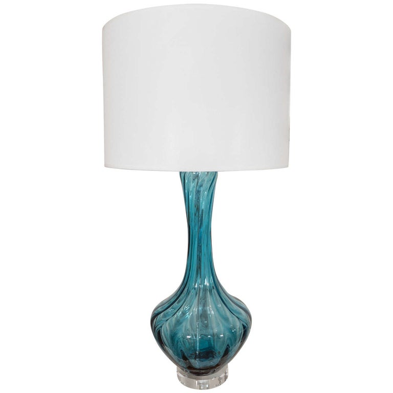 Blue Murano Glass Lamp For Sale