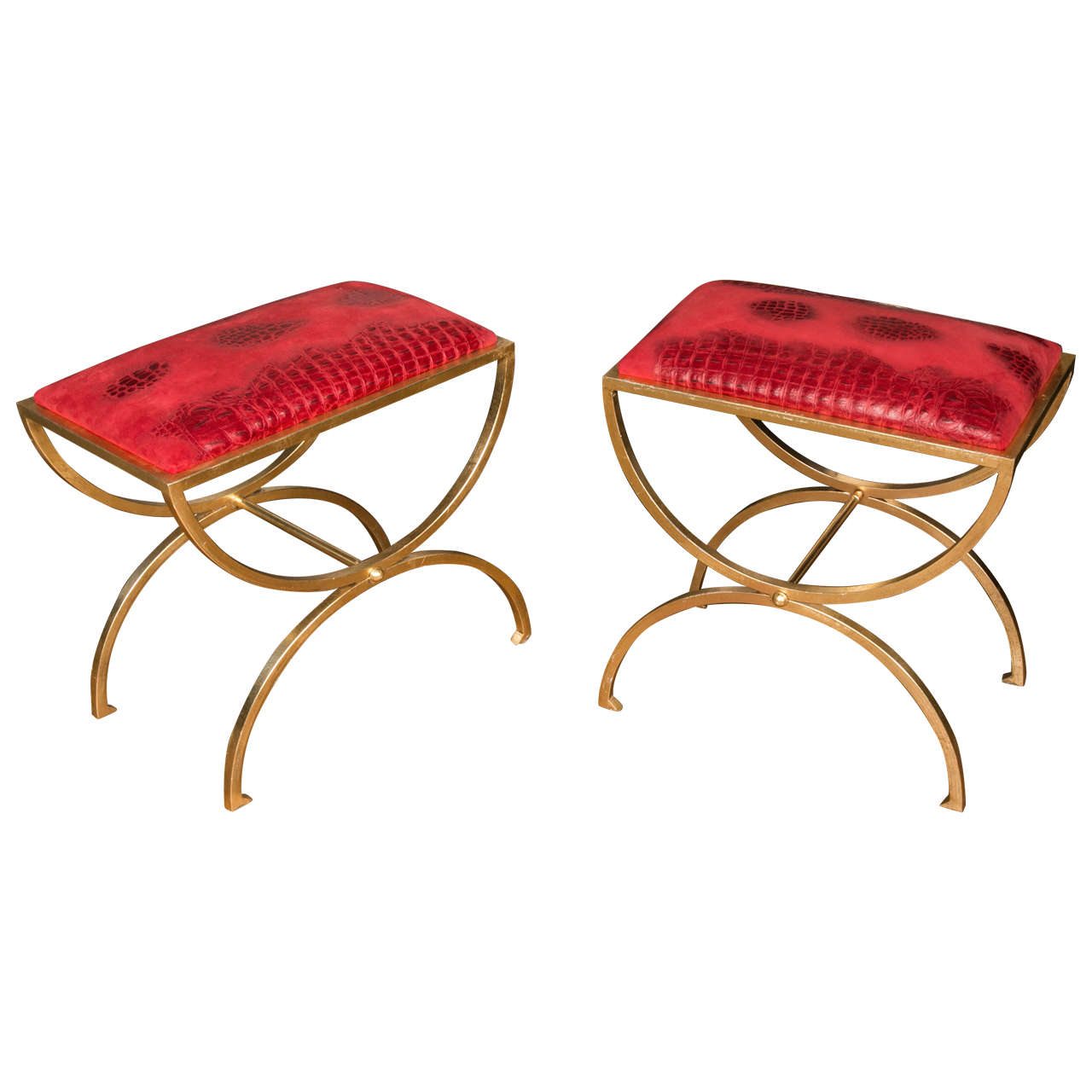 Pair Of Brass Stools At 1stdibs
