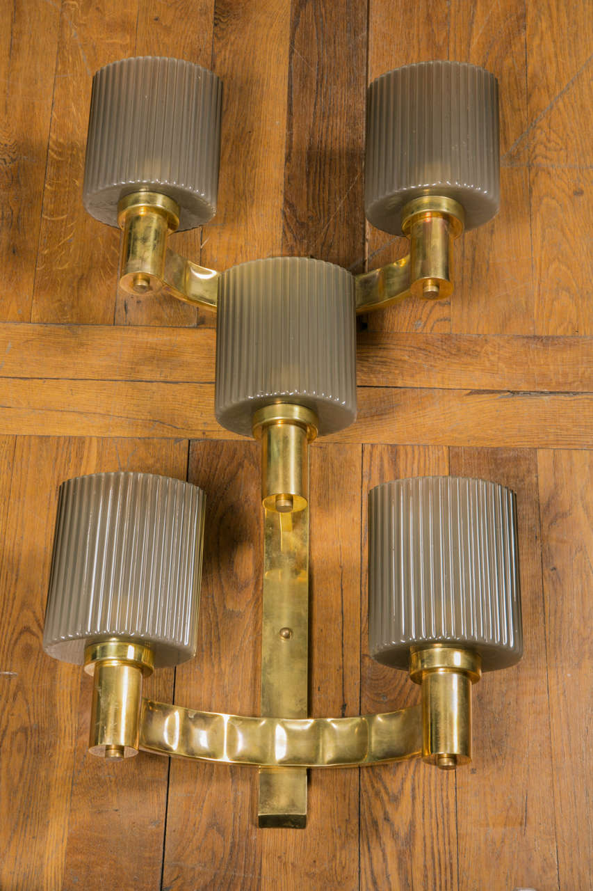 Set of six sconces made of five glass shades, brass structure