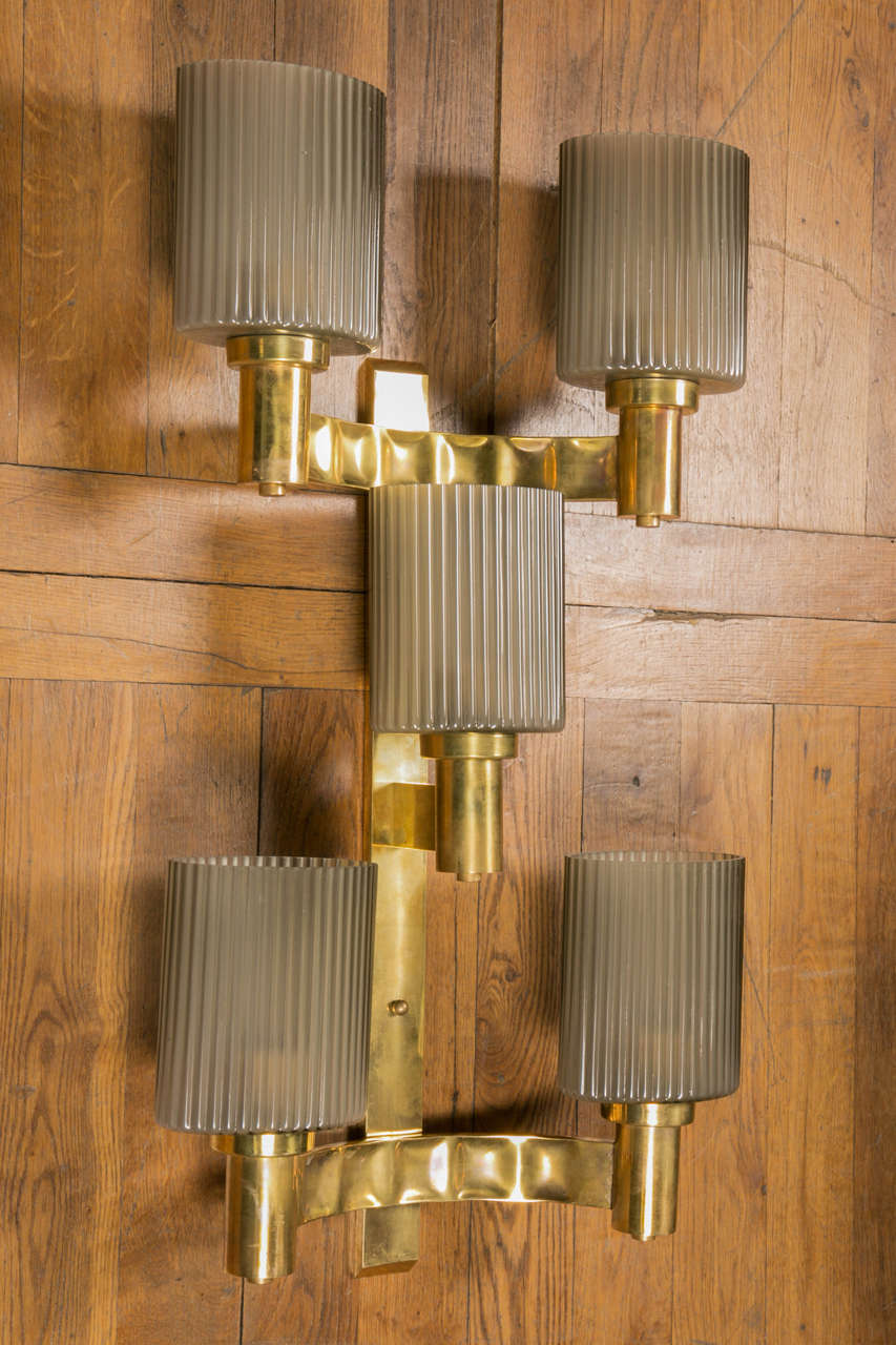 Mid-Century Modern Set of Six Sconces.        2 available ! For Sale