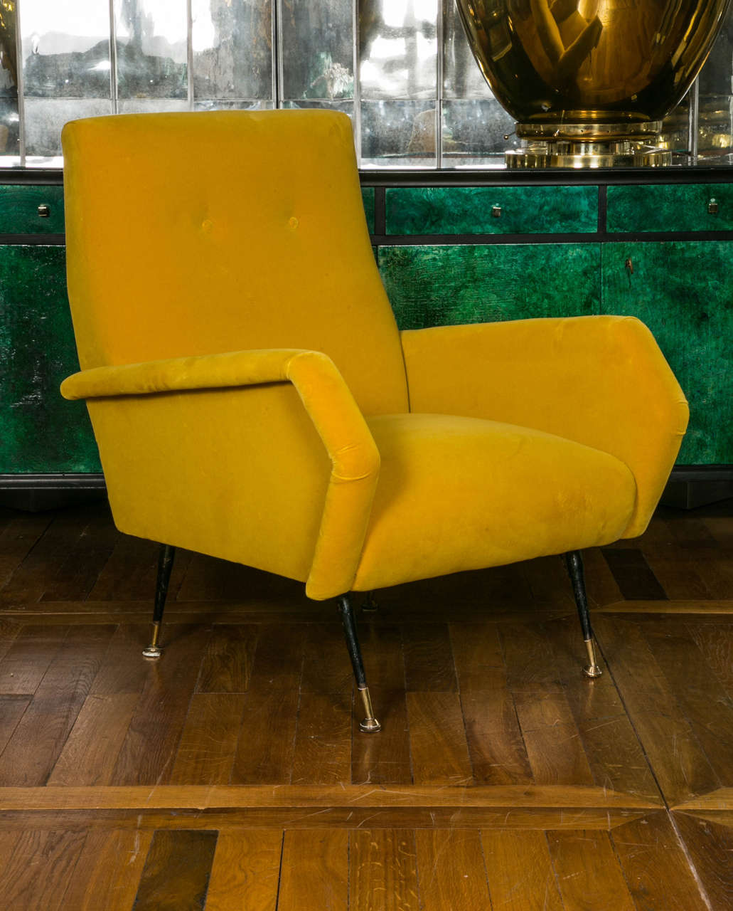 Pair of Italian midcentury armchairs in the style of Marco upholstered with Rubelli yellow velvet, four feet in black metal and brass