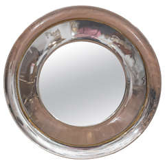"Polished Nickel ""Dish"" Mirror"