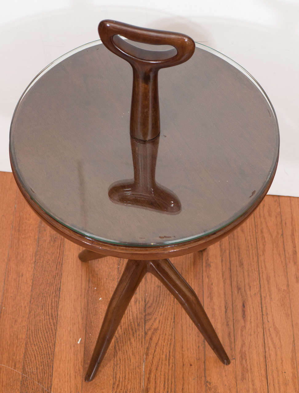 Lacquered Wood Table with Handle In Good Condition For Sale In New York, NY