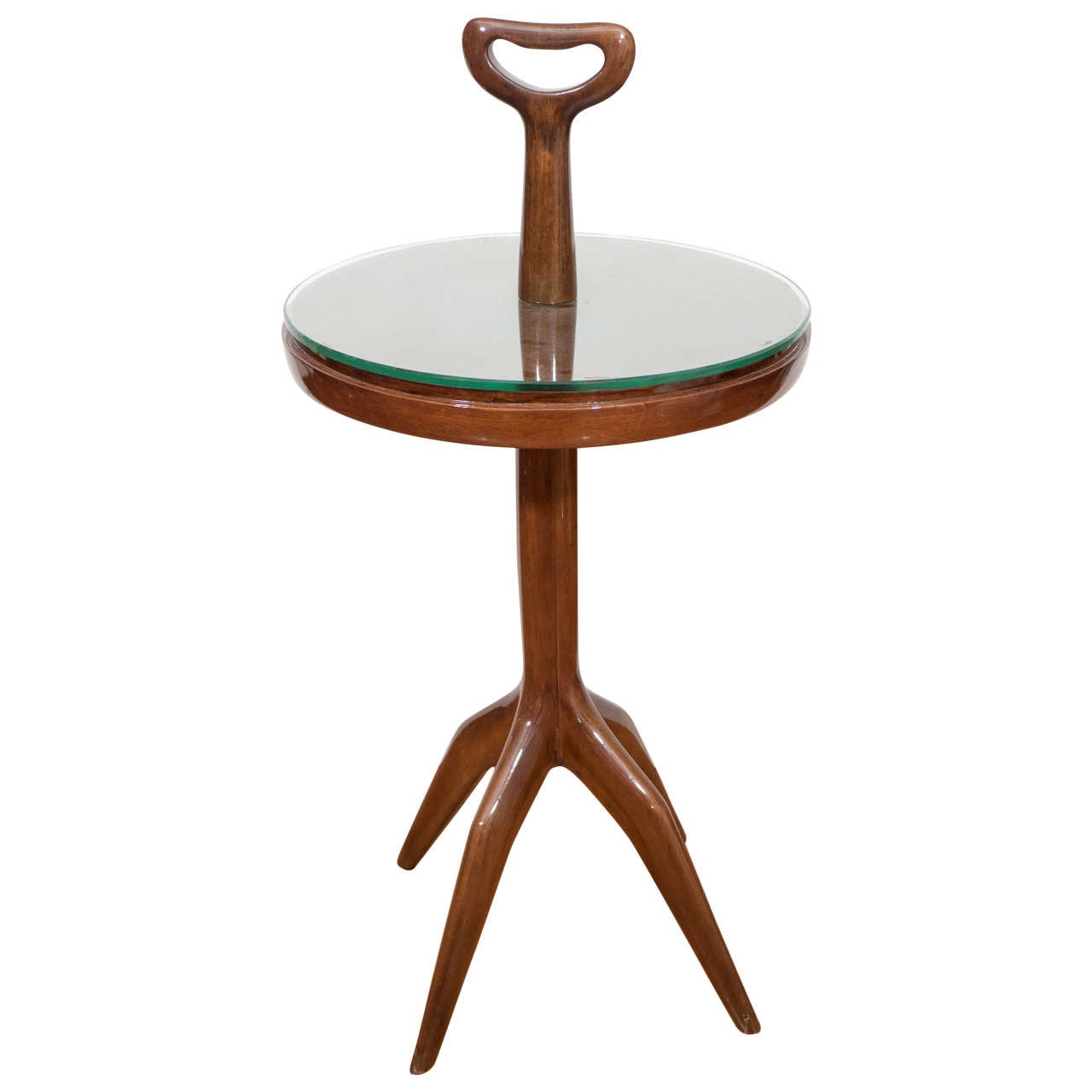 Lacquered Wood Table with Handle For Sale