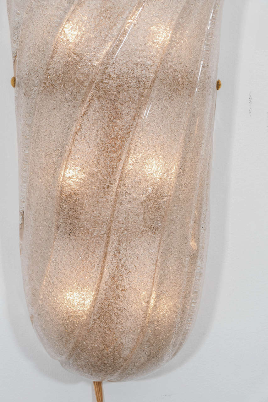 Mid-Century Modern Pair of Frosted and Fluted Murano Glass Sconces For Sale