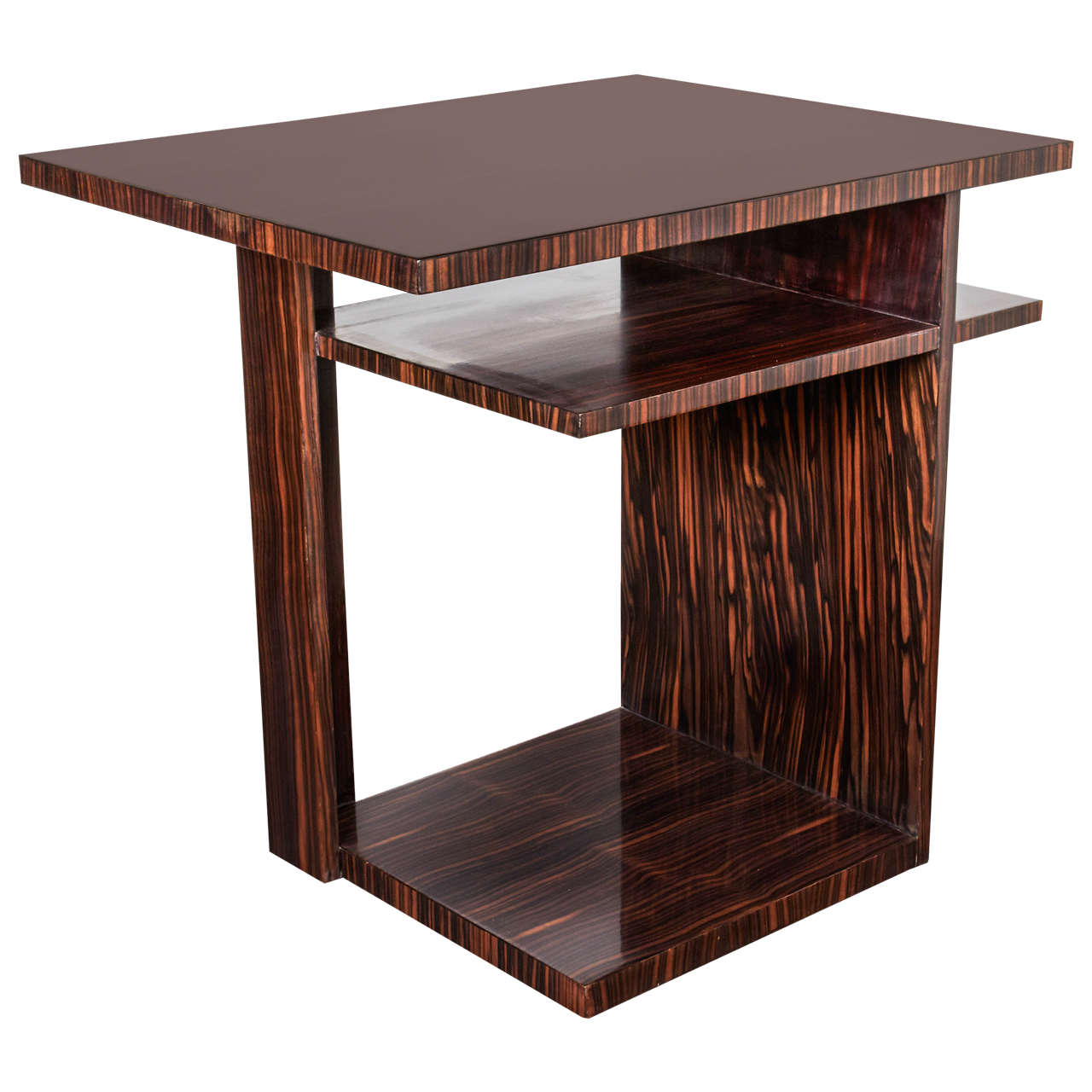 Modernist Macassar Ebony Cubist Side Table Atelier Athelia