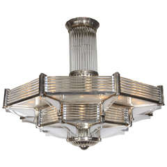 Huge French Modernist Two-Tier Petitot Chandelier in Nickeled Bronze and Glass