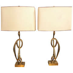 Pair of Bronze Table Lamps Signed Willy Daro