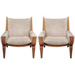 Pair Hans J. Wegner for Getama GE-501 Lounge Chairs