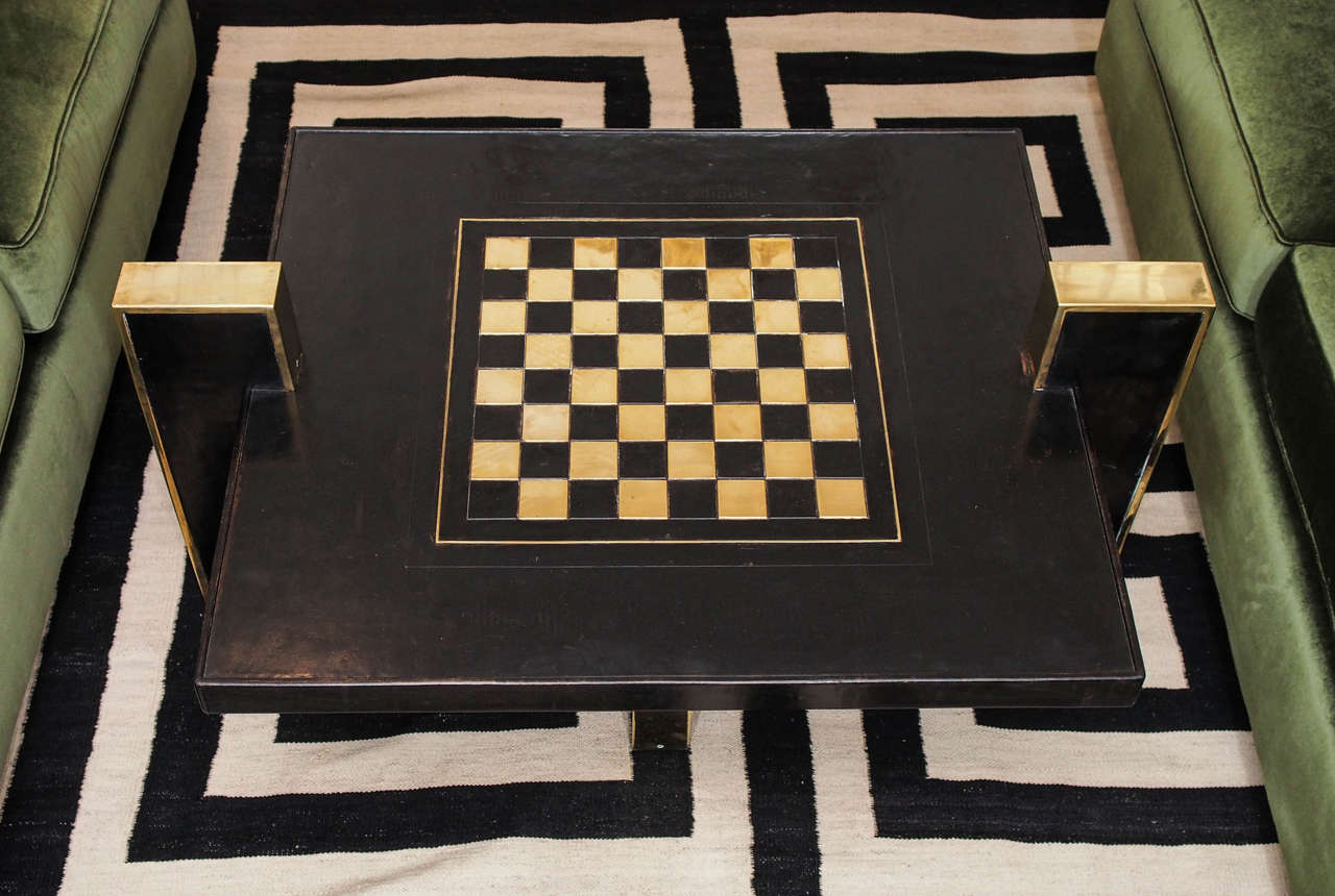 Chess Board Low Table In Black Leather And Brass At 1stdibs