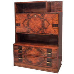 French 1940s Inlaid Fall-Front Desk