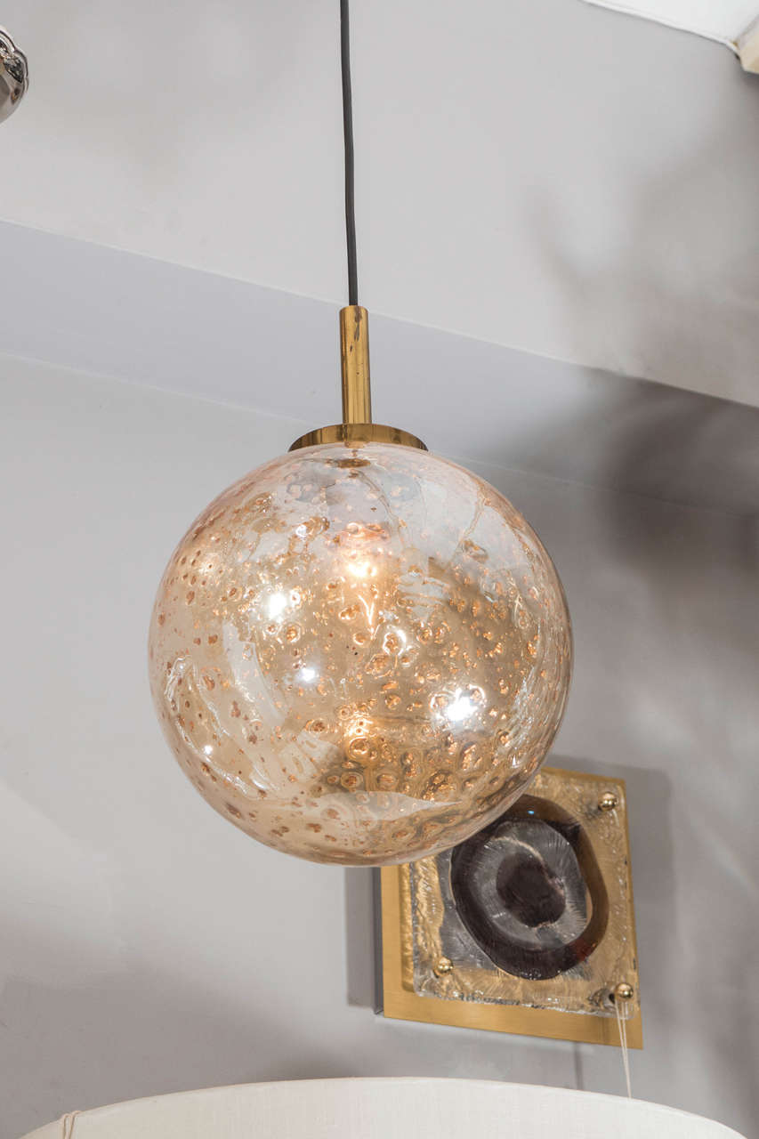 venetian glass gold flake mouth blown sphere light pendant. Black Bedroom Furniture Sets. Home Design Ideas