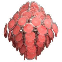 Bright Coral Murano Disc Chandelier