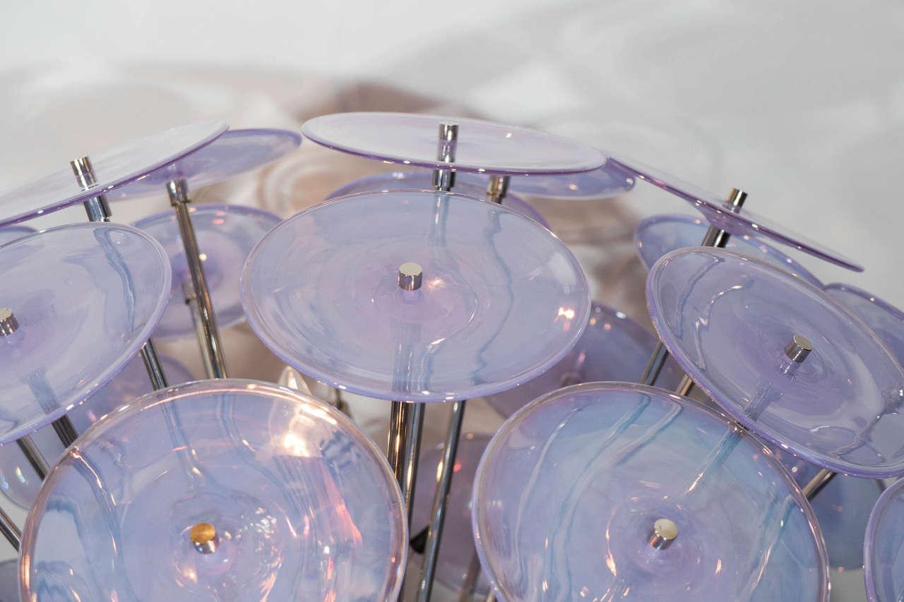 Italian Iridescent Murano Glass Disc Sputnik Chandelier For Sale