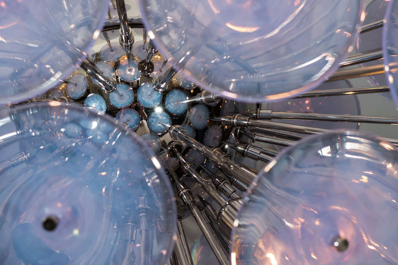 Iridescent Murano Glass Disc Sputnik Chandelier In Excellent Condition For Sale In New York, NY