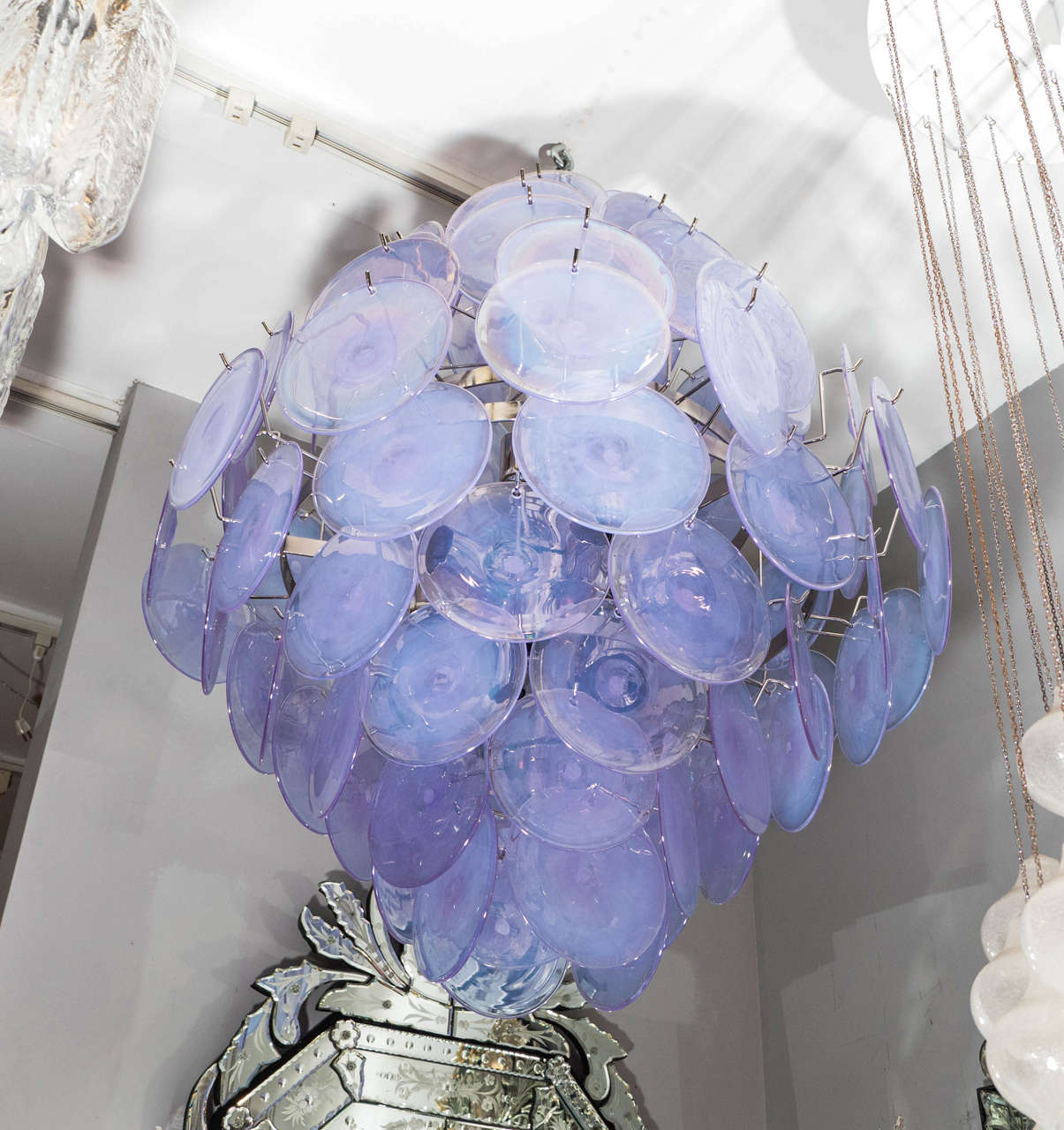 Beautiful Murano Iridescent Glass Disc Chandelier