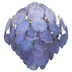 Iridescent Murano Glass Disc Chandelier