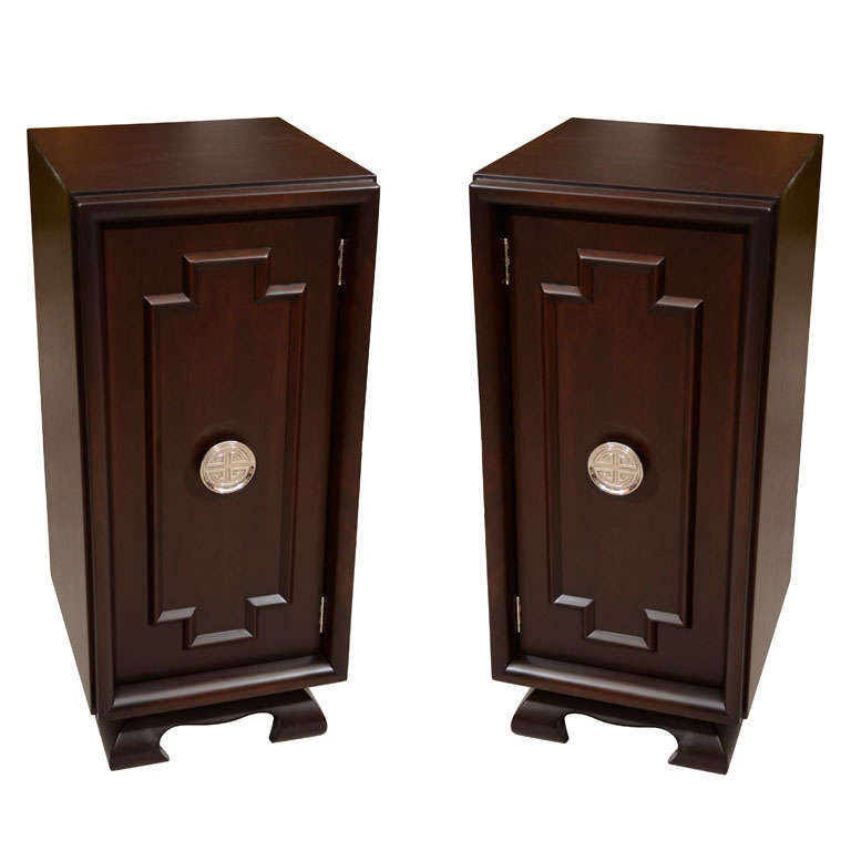pair of asian motif tall nightstands and cabinets at 1stdibs