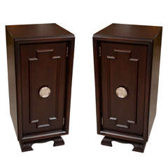 Pair of Asian Motif Tall Nightstands and Cabinets