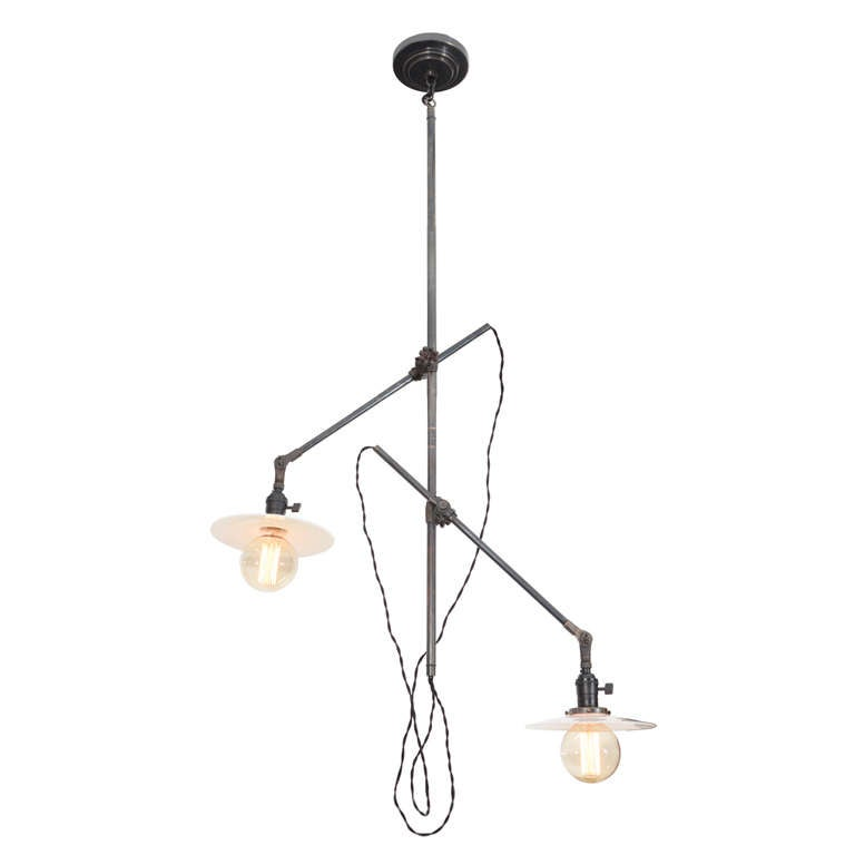 Antique industrial two arm ceiling light by oc white for sale at antique industrial two arm ceiling light by oc white for sale aloadofball Images