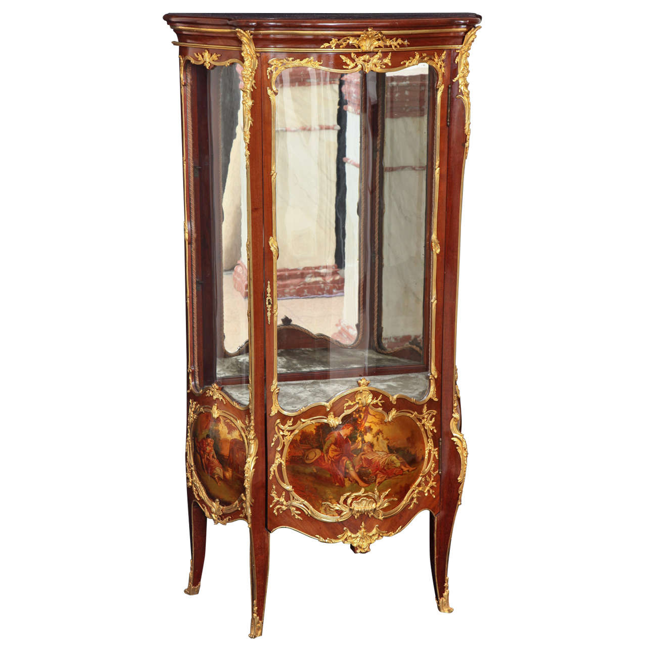 an antique french louis xv style vernis martin ormolu mounted vitrine for sale at 1stdibs. Black Bedroom Furniture Sets. Home Design Ideas