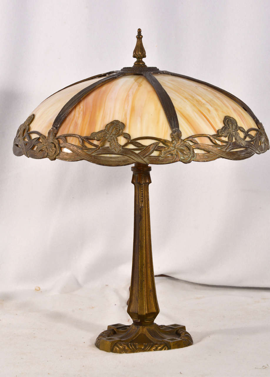 Victorian Table Lamps : Victorian bent slag glass table lamp at stdibs