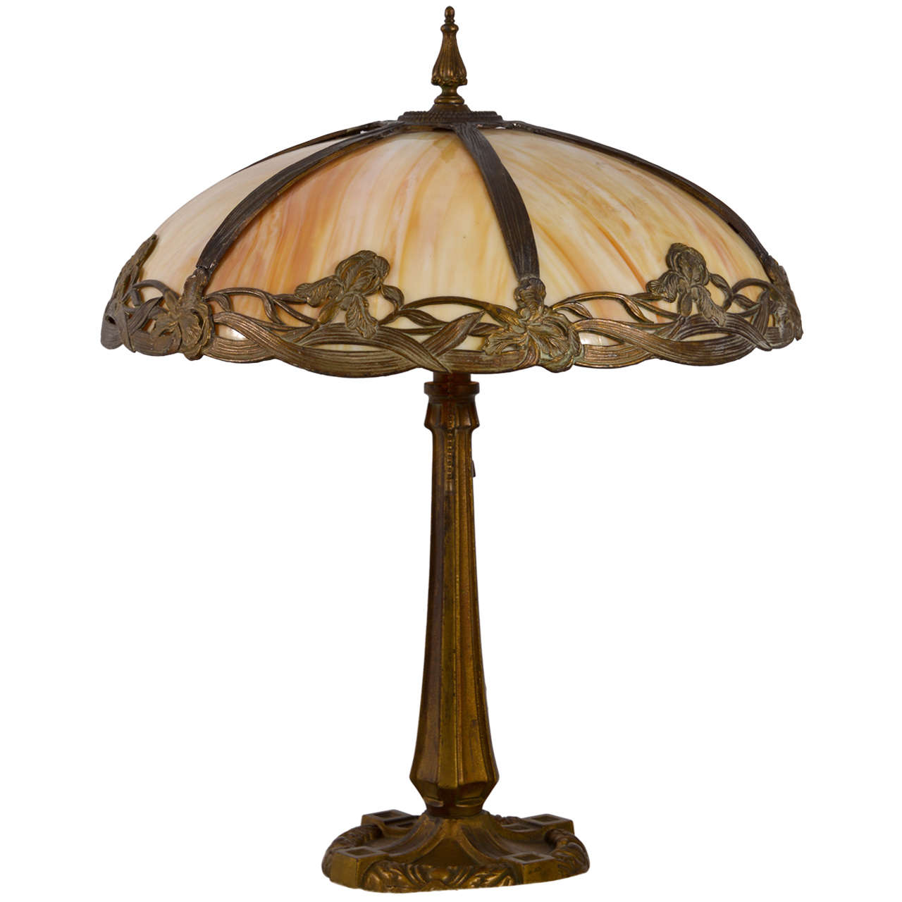Victorian Bent Slag Glass Table Lamp At 1stdibs