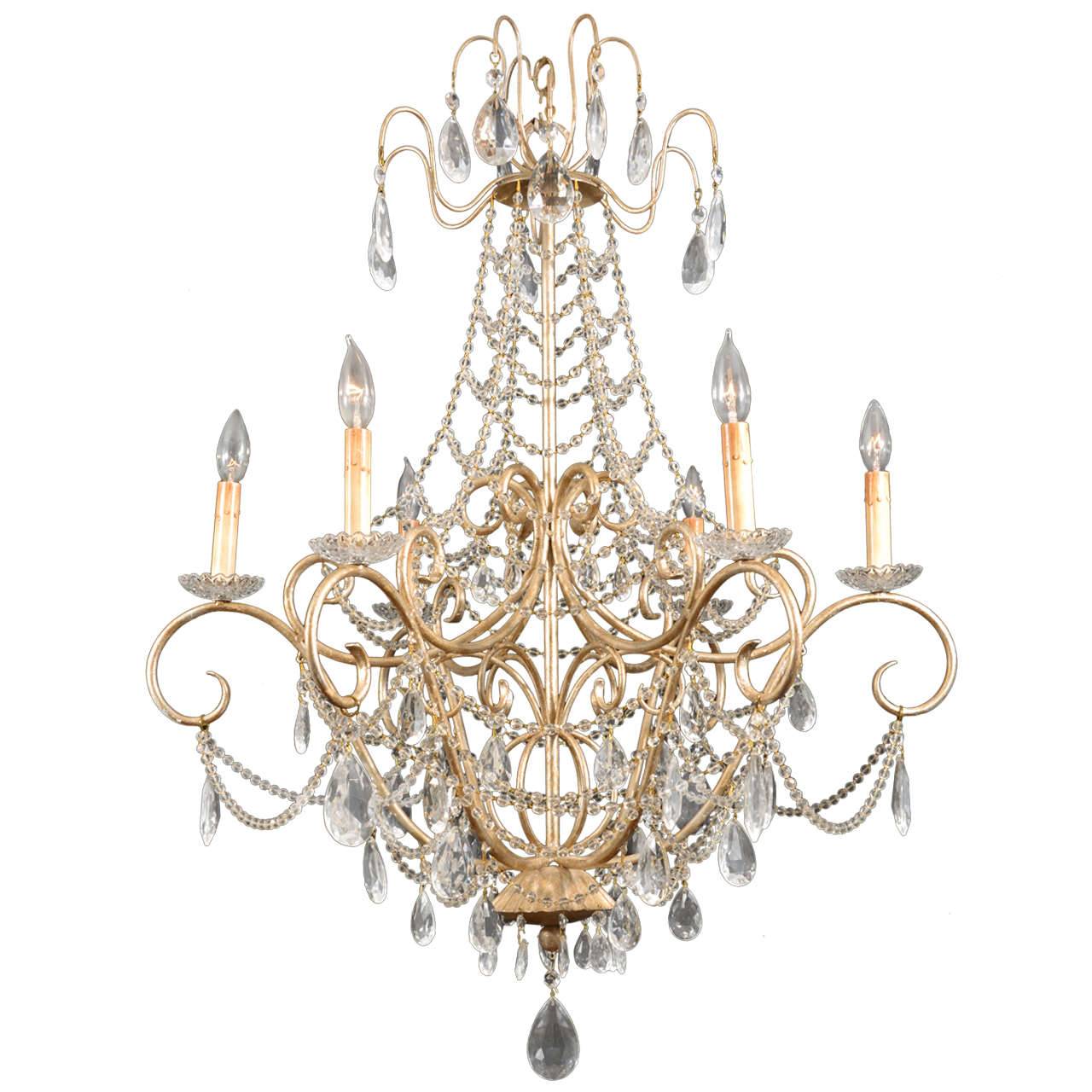 Beaded delicate country french chandelier at 1stdibs French country chandelier