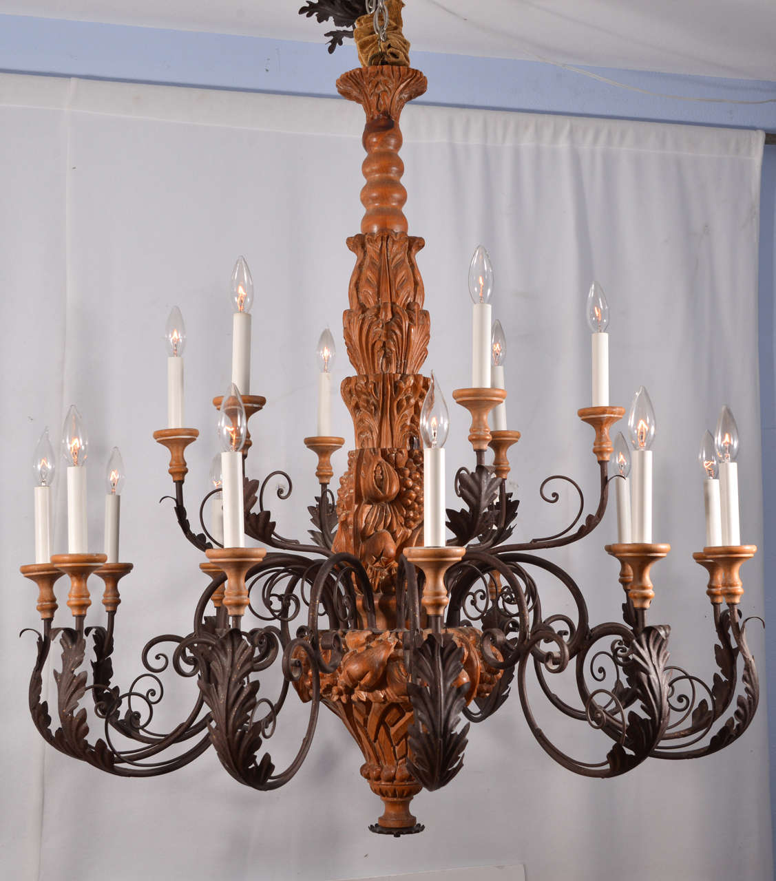 French Provincial Country Hand Carved Wood With Graceful Scrolling Arms Chandelier For