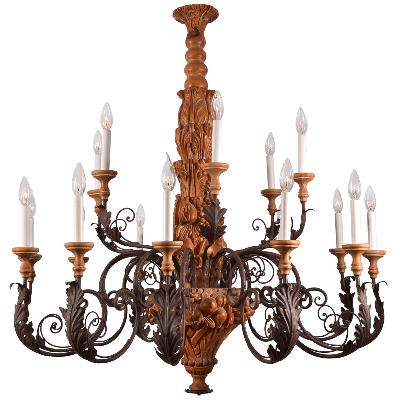 Country french hand carved wood with graceful scrolling French country chandelier