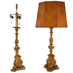 Pair of Italian Gilt Prickets as Lamps with Hand Made Leather Shades