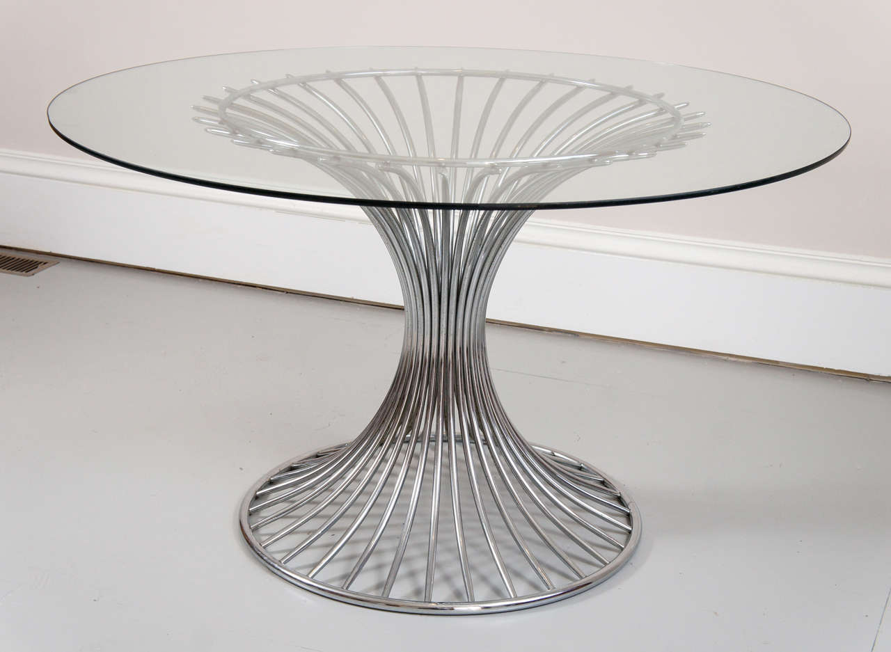 Mid 20th century chrome and glass top round dining table for Glass and chrome dining table