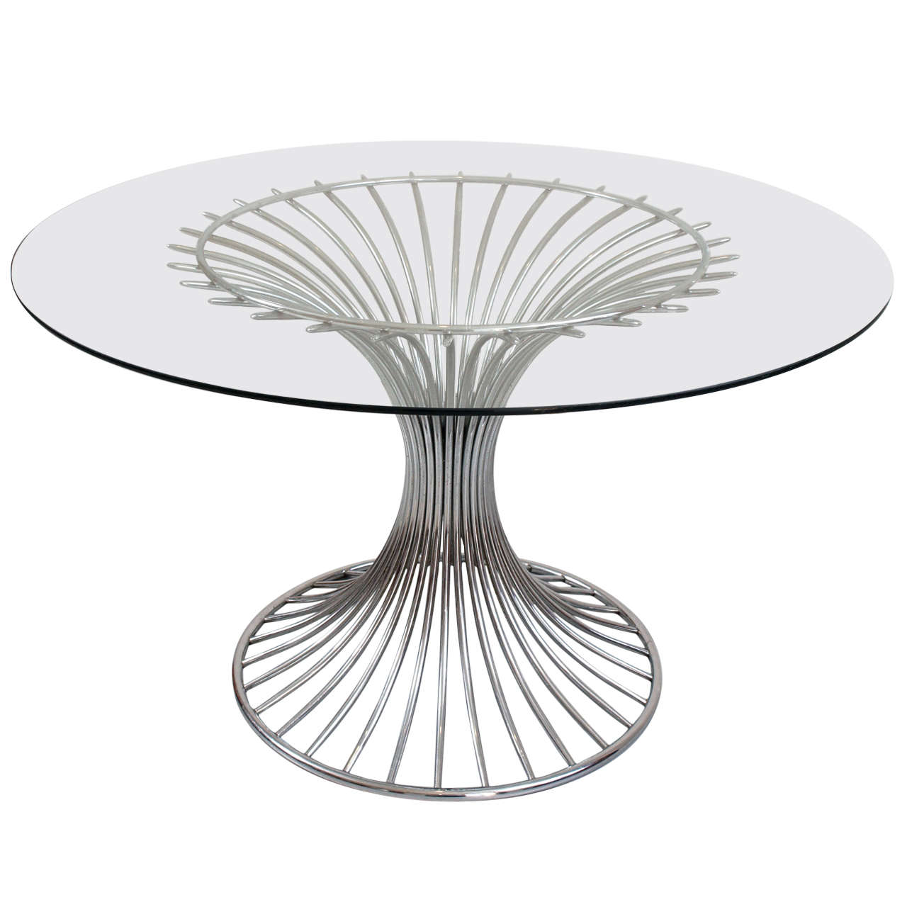 Mid 20th century chrome and glass top round dining table for Round glass and chrome dining table