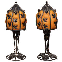 Pair of Art Deco Style Wrought Iron and Art Glass Table Lamps