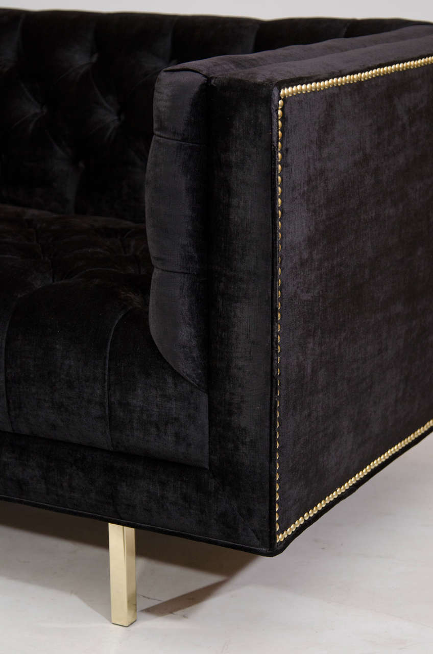 Modernist Tufted Tuxedo Sofa with Brass Accents 3