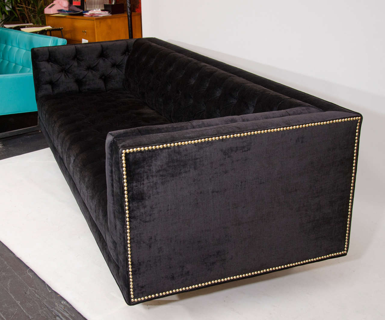 Modernist Tufted Tuxedo Sofa with Brass Accents 4