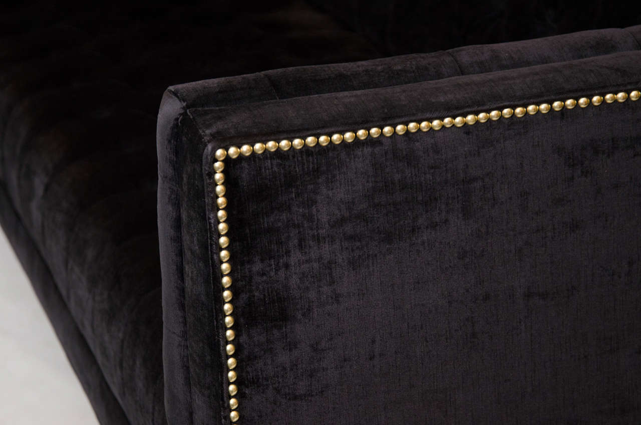 Modernist Tufted Tuxedo Sofa with Brass Accents 5