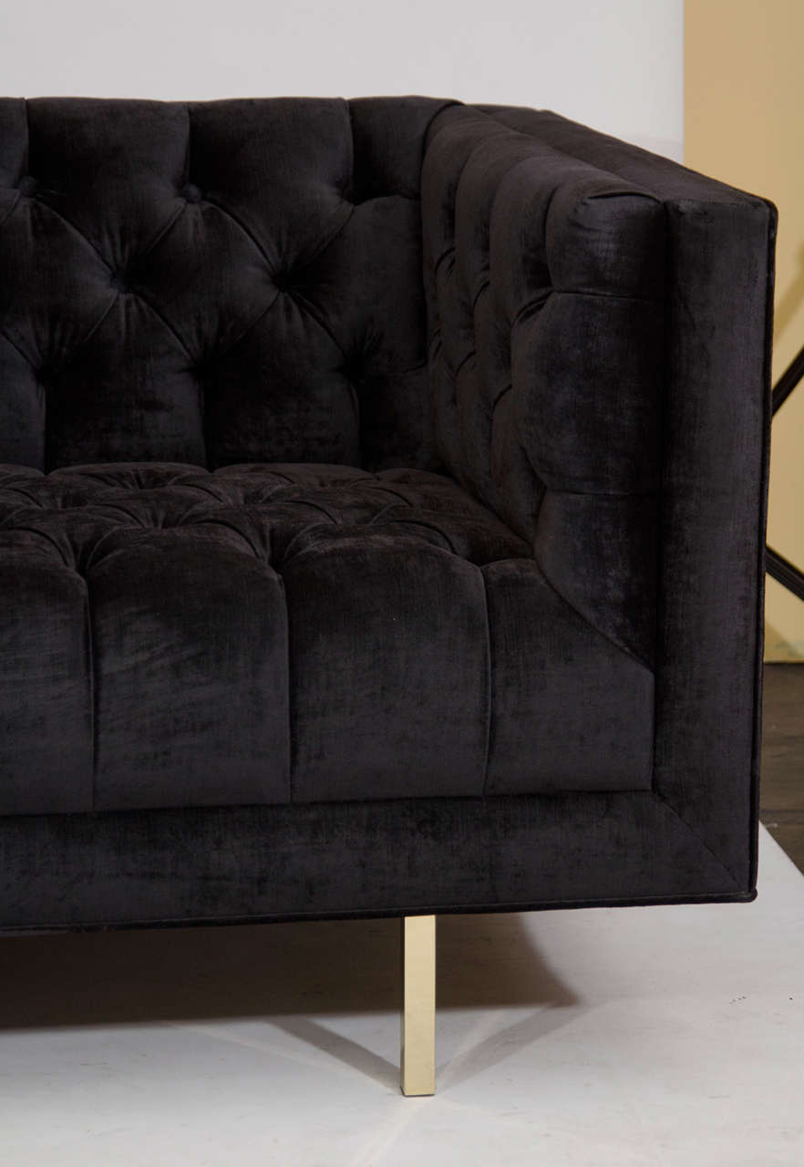 Modernist Tufted Tuxedo Sofa with Brass Accents 6