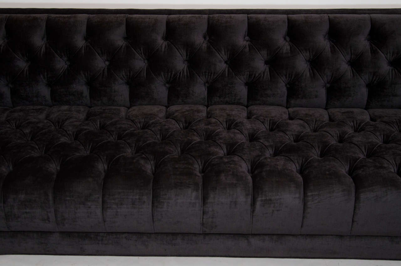 Modernist Tufted Tuxedo Sofa with Brass Accents 7